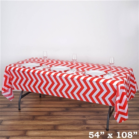 "54"" x 108"" Red Wholesale Waterproof Chevron Plastic Vinyl Tablecloth"