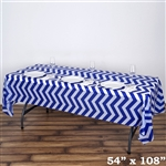 "54"" x 108"" Royal Blue Wholesale Waterproof Chevron Plastic Vinyl Tablecloth"