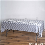 "54"" x 108"" Silver Wholesale Waterproof Chevron Plastic Vinyl Tablecloth"
