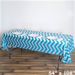 "54"" x 108"" Turquoise Wholesale Waterproof Chevron Plastic Vinyl Tablecloth"
