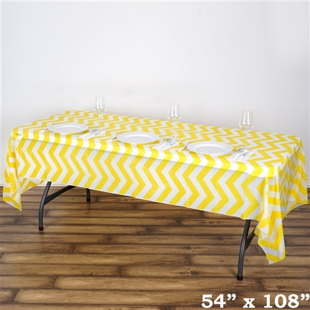 "54"" x 108"" Yellow Wholesale Waterproof Chevron Plastic Vinyl Tablecloth"