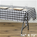 "54""x72"" White/Black Wholesale Waterproof Checkered Plastic Vinyl Tablecloth for Birthday Party"