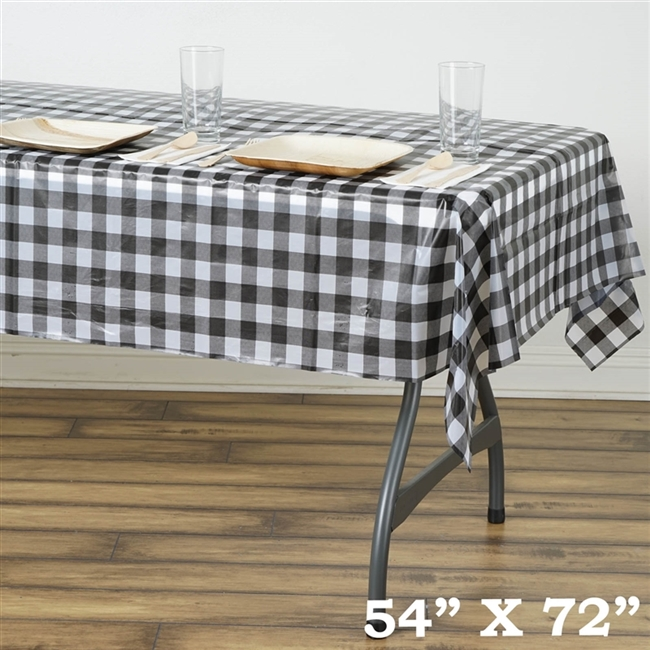 Checkered Plastic Vinyl Tablecloth For Birthday Party Larger Photo