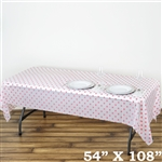 "54"" x 108"" White/Pink Wholesale Waterproof Polka Dots Plastic Vinyl Tablecloth"