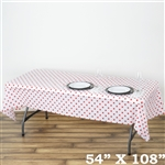 "54"" x 108"" White/Red Wholesale Waterproof Polka Dots Plastic Vinyl Tablecloth"
