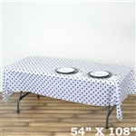 "54"" x 108"" White/Royal Blue Wholesale Waterproof Polka Dots Plastic Vinyl Tablecloth"