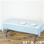 "54"" x 108"" White/Serenity Blue Wholesale Waterproof Polka Dots Plastic Vinyl Tablecloth"