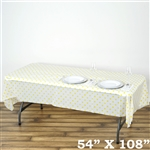 "54"" x 108"" White/Yellow Wholesale Waterproof Polka Dots Plastic Vinyl Tablecloth"