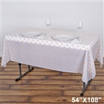 "54"" x 108"" Blush Wholesale Waterproof Polka Dots Plastic Vinyl Tablecloth"
