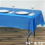 "54"" x 72"" Wholesale Royal Blue 10mil Thick Waterproof Plastic Vinyl Tablecloth For Outdoor Party Events"
