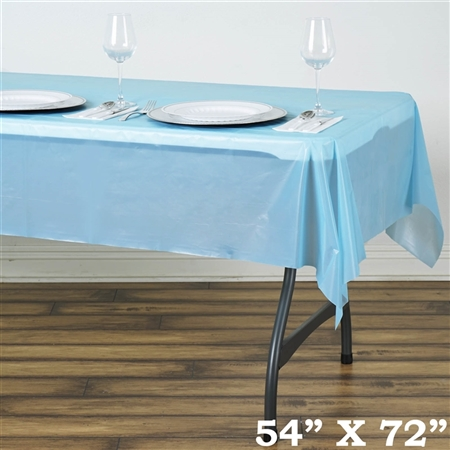 "54"" x 72"" Wholesale Serenity Blue 10mil Thick Waterproof Plastic Vinyl Tablecloth For Outdoor Party Events"