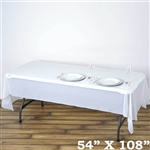 "54""x 108"" Wholesale White 10mil Thick Waterproof Plastic Vinyl Tablecloth for Outdoor Events"