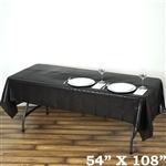 "54""x 108"" Wholesale Black 10mil Thick Waterproof Plastic Vinyl Tablecloth for Outdoor Events"