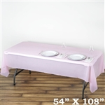 "54""x 108"" Wholesale Pink 10mil Thick Waterproof Plastic Vinyl Tablecloth for Outdoor Events"