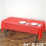 "54""x 108"" Wholesale Red 10mil Thick Waterproof Plastic Vinyl Tablecloth for Outdoor Events"