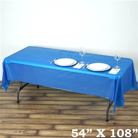"54""x 108"" Wholesale Royal Blue 10mil Thick Waterproof Plastic Vinyl Tablecloth for Outdoor Events"