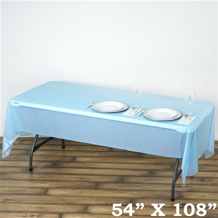 "54""x 108"" Wholesale Serenity Blue 10mil Thick Waterproof Plastic Vinyl Tablecloth for Outdoor Events"