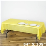 "54""x 108"" Wholesale Yellow 10mil Thick Waterproof Plastic Vinyl Tablecloth for Outdoor Events"