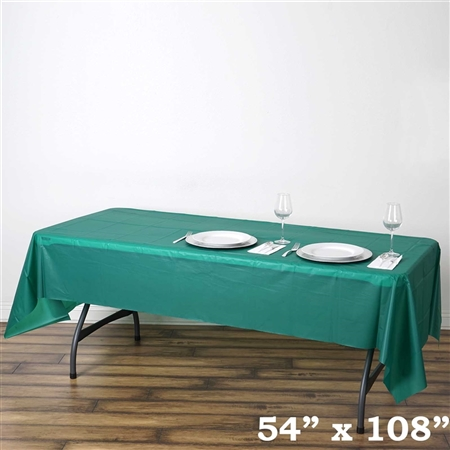 "54""x 108"" Wholesale Hunter Green 10mil Thick Waterproof Plastic Vinyl Tablecloth for Outdoor Events"