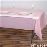"54""x 108"" Wholesale Blush 10mil Thick Waterproof Plastic Vinyl Tablecloth for Outdoor Events"