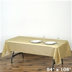 "54""x 108"" Wholesale Gold 10mil Thick Waterproof Plastic Vinyl Tablecloth for Outdoor Events"