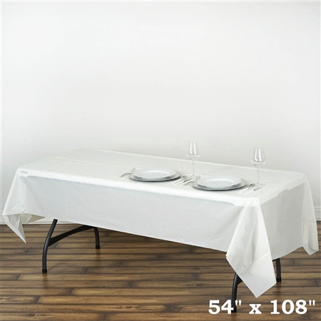 "54""x 108"" Wholesale Ivory 10mil Thick Waterproof Plastic Vinyl Tablecloth for Outdoor Events"