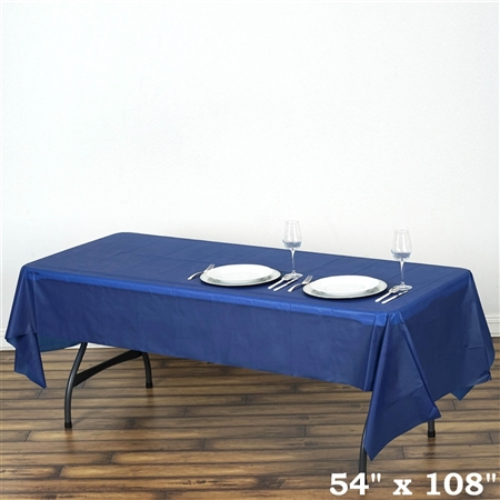 "54""x 108"" Wholesale Navy Blue 10mil Thick Waterproof Plastic Vinyl Tablecloth for Outdoor Events"