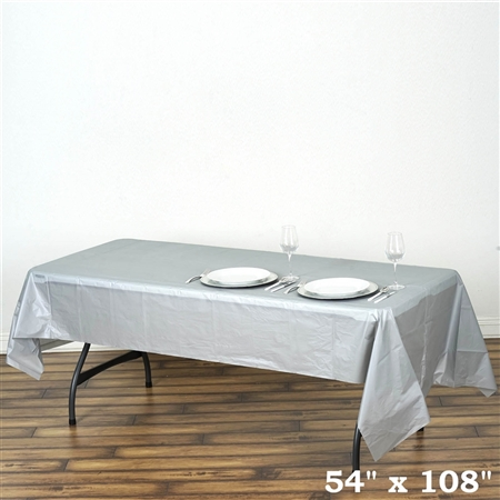 "54""x 108"" Wholesale Silver 10mil Thick Waterproof Plastic Vinyl Tablecloth for Outdoor Events"