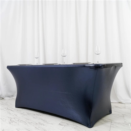 6FT Metallic Navy Blue Rectangular Stretch Spandex Table Cover