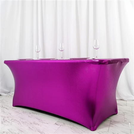 6FT Metallic Purple Rectangular Stretch Spandex Table Cover