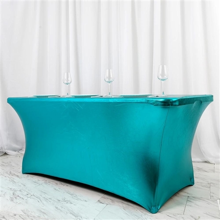 6FT Metallic Teal Rectangular Stretch Spandex Table Cover