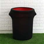 24-40 Gallons Black Stretch Spandex Round Trash Bin Container Cover