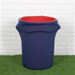 41-50 Gallons Navy Blue Stretch Spandex Round Trash Bin Container Cover