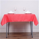 "54"" Coral Red Wholesale Polyester Square Linen Tablecloth For Banquet Party Restaurant"
