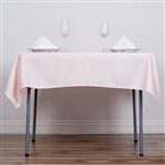 "54"" Blush/Rose Gold Wholesale Polyester Square Linen Tablecloth For Banquet Party Restaurant"