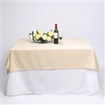 "54"" Beige Wholesale Polyester Square Linen Tablecloth For Banquet Party Restaurant"