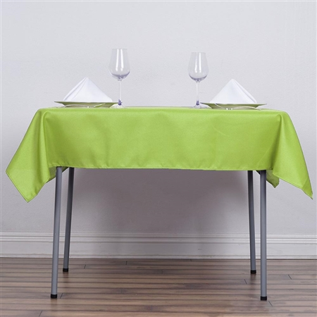 "54"" Apple Green Wholesale Polyester Square Linen Tablecloth For Banquet Party Restaurant"