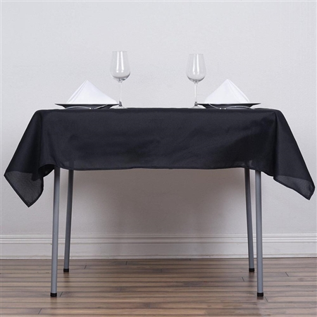 "54"" Black Wholesale Polyester Square Linen Tablecloth For Banquet Party Restaurant"