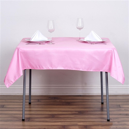 "54"" Pink Wholesale Polyester Square Linen Tablecloth For Banquet Party Restaurant"