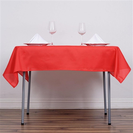 "54"" Red Wholesale Polyester Square Linen Tablecloth For Banquet Party Restaurant"