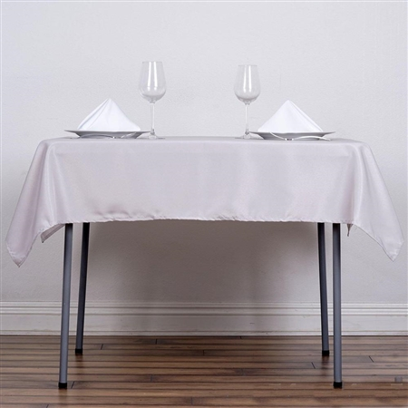 "54"" Silver Wholesale Polyester Square Linen Tablecloth For Banquet Party Restaurant"