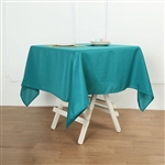 "54"" Teal Wholesale Polyester Square Linen Tablecloth For Banquet Party Restaurant"
