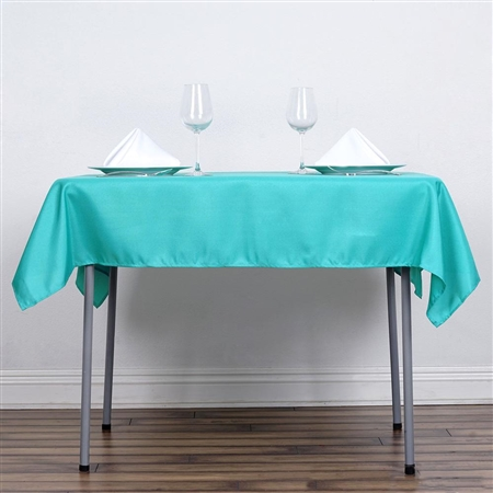 "54"" Turquoise Wholesale Polyester Square Linen Tablecloth For Banquet Party Restaurant"