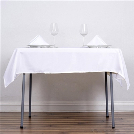 "54"" White Wholesale Polyester Square Linen Tablecloth For Banquet Party Restaurant"