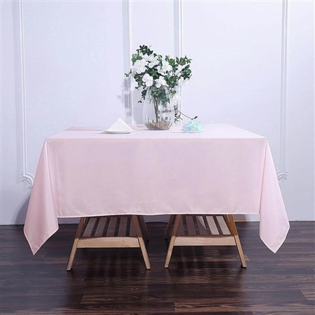 "70"" Blush/Rose Gold Wholesale Polyester Square Linen Tablecloth For Wedding Party Restaurant"