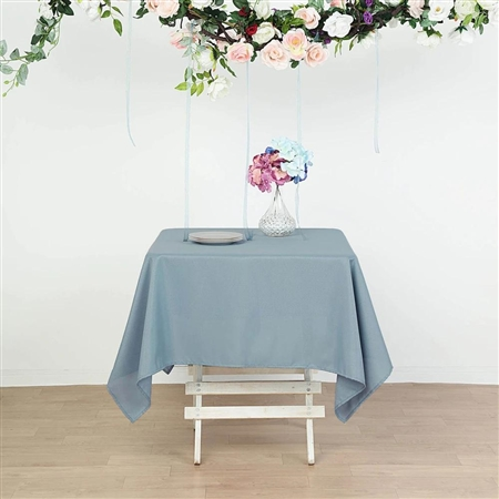 "70"" Dusty Blue Wholesale Polyester Square Linen Tablecloth For Wedding Party Restaurant"