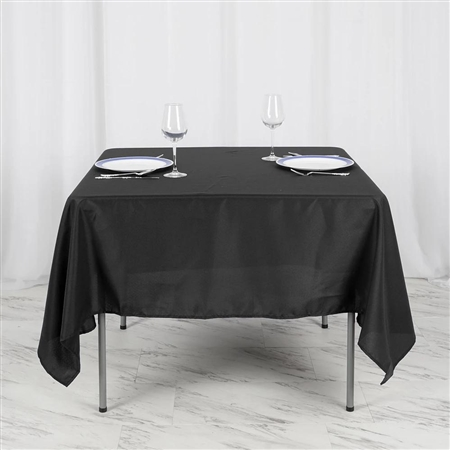"70"" Black Wholesale Polyester Square Linen Tablecloth For Wedding Party Restaurant"