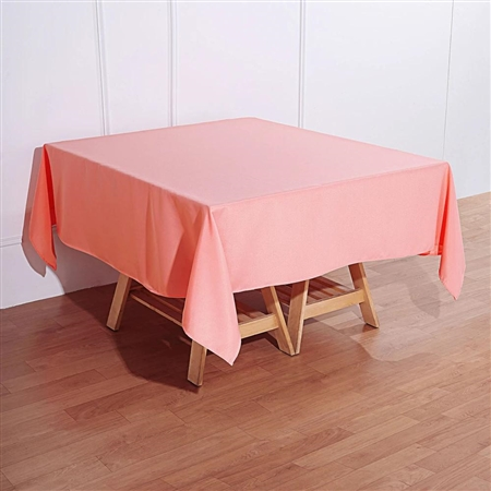 "70"" Coral Wholesale Polyester Square Linen Tablecloth For Wedding Party Restaurant"