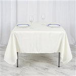 "70"" Ivory Wholesale Polyester Square Linen Tablecloth For Wedding Party Restaurant"