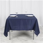 "70"" Navy Blue Wholesale Polyester Square Linen Tablecloth For Wedding Party Restaurant"